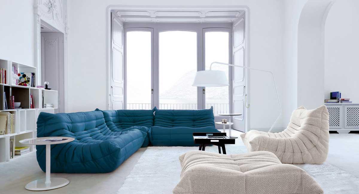 Exemple de restauration / couverture de canapé contemporain : le Canapé Togo, Cinna